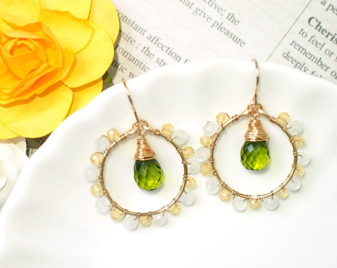 Peridot Green Quartz x Blue Moonstone x Yellow Zircon Earrings // Sparkly & Precious // 14K Gold-filled //