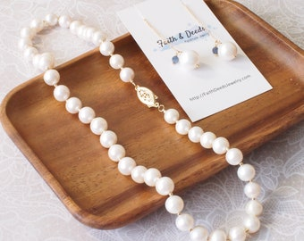 White Fresh Water Pearls Necklace + Earrings Set // 14K Gold-filled // Graceful & Elegant