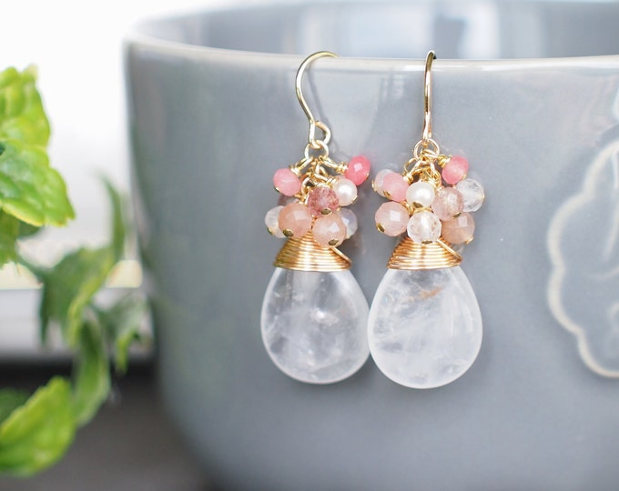 Clear White Quartz Earrings // Assorted Gems Cluster // 14K Gold-filled // Wire-wrapped // Romantic & Elegant
