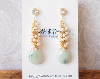 Type A Burmese Jade Drops Earrings // Long Pearl Cluster // 14K Gold-filled // Elegant & Stunning