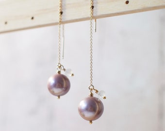 Purple Edison Pearl Earrings // Simple Threader Earrings // Rainbow Moonstone // 14K Gold-filled // Dangling Style // Sassy