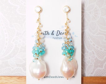 White Baroque Pearl Earrings // Flameball Pearls // Gem Cluster // Ocean Theme // Dangling Style // 14K Gold-filled // Refreshing & Chic