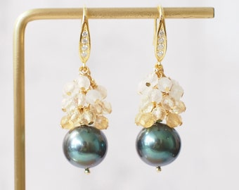 Tahitian Pearl Earrings // Natural Peacock Green // Gem Cluster // Citrine Quartz x Moonstone // 14K Gold-filled // Bright and Graceful