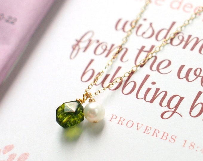 Peridot x Pearl Necklace // Gem Stone Pendant // 14K Gold-filled // Refreshing & Sweet