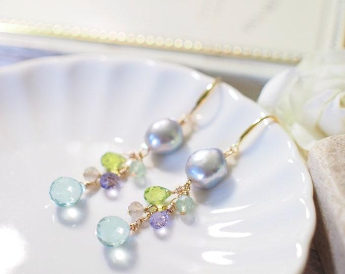 Silver Baroque Pearl Earrings // Gem Stone Dangles // Peridot x Strawberry Quartz x Topaz x Labradorite x Mint Quartz // 14K Gold-filled
