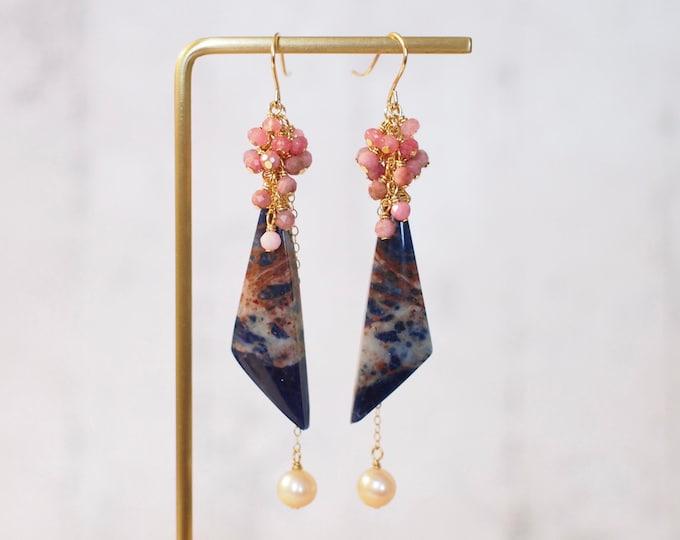 Sodalite x Fresh Water Pearls Earrings // Statement Earrings // Gems Cluster // Rhodochrosite x Pink Chalcedony // 14K Gold-filled
