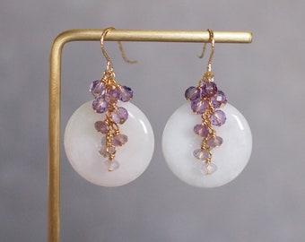 Type A Burmese Jade Buckle Earrings // Gem Cluster // Amethyst // 14K Gold-filled // Elegant & Stunning