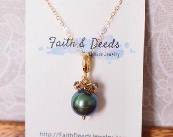 Tahitian Pearl Pendant // Natural Peacock Green // Smokey Quartz Cluster // 14K Gold-filled