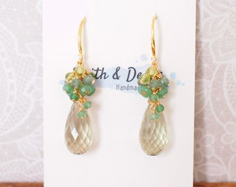 Green Amethyst Earrings // Gem Cluster // Chalcedony x Apatite x Peridot // 14K Gold-filled // Elegant and Unique