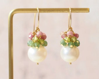 Fresh Water Pearl Earrings // Gem Cluster // Apatite x Peridot x Pink Tourmaline // 14K Gold-filled // Floral Theme