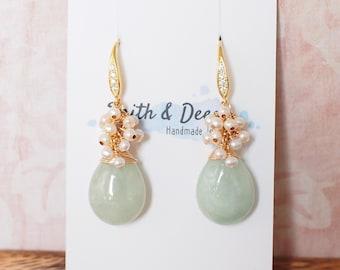 Type A Burmese Jade Drops Earrings // Pearl Cluster // 14K Gold-filled // Elegant & Stunning