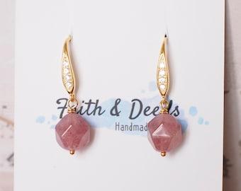 Strawberry Quartz Earrings // Simple Earrings // 14K Gold-filled // Elegant and Sweet