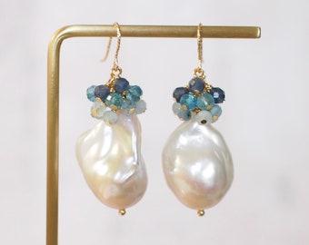 Baroque Pearl Earrings // Flameball Pearls // Gems Cluster // Aquamarine x Topaz x Chalcedony // 14K Gold-filled // Elegant & Timeless