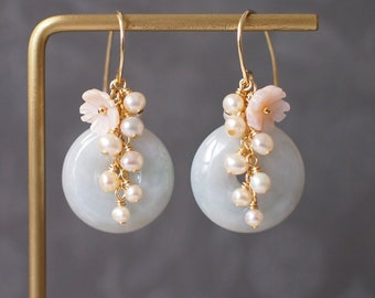 Burmese Jade Donut Earrings // Pearl Cluster // Mother of Pearl Flower // 14K Gold-filled // Romantic & Graceful