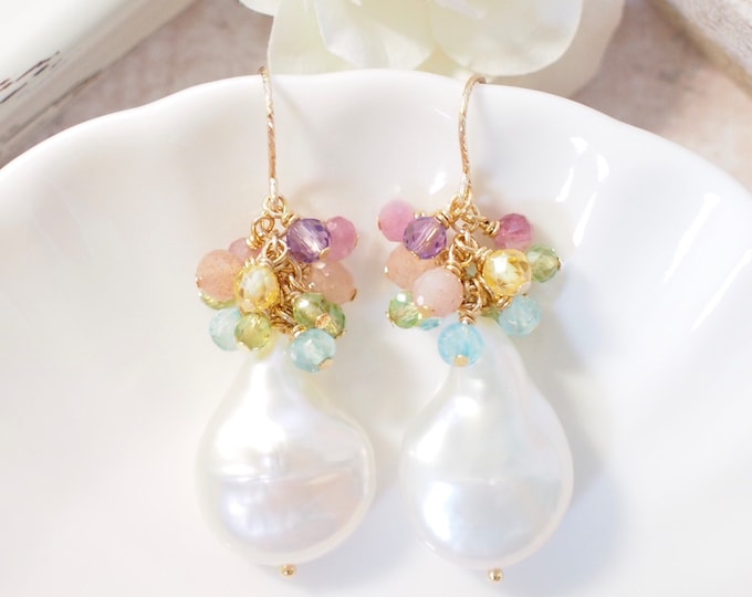 Baroque Pearl x Rainbow Gems Earrings // Statement Earrings // Gems Cluster // 14K Gold-filled// One of a kind