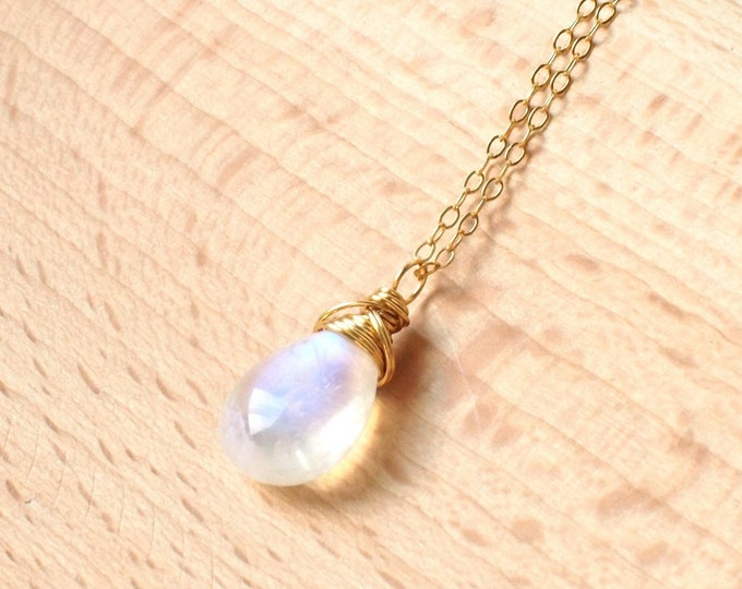Blue Moonstone Pendant // 14K Gold-filled Necklace // Wire-wrapped // Shiny & Precious