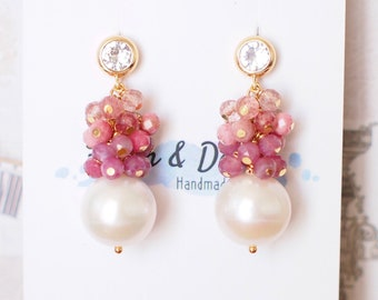 Fresh Water Pearl Earrings // Pink Gem Cluster // Floral Theme // 14K Gold-filled // Romantic & Gorgeous