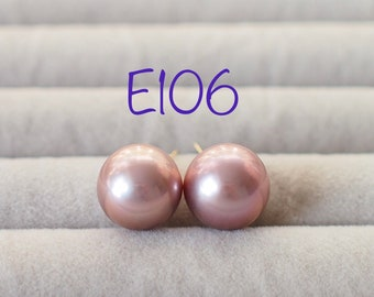 Purple Edison Pearls Ear Studs // 11mm // 18K Yellow Gold Plated over Sterling Silver // E106
