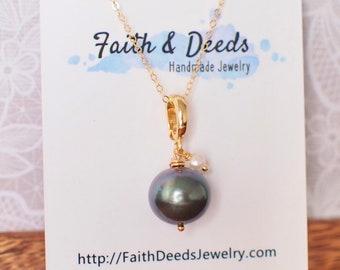 Tahitian Pearl Pendant // Natural Peacock Green // White Pearl Dangles // 14K Gold-filled