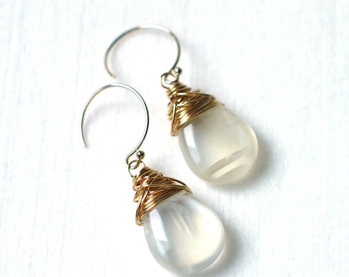 White Moonstone Earrings // Tear-drop Shape // Smooth // 14K Gold-filled