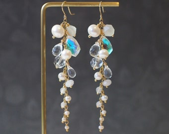 Assorted Stones Earrings // White Theme // Dangling Style // Gems Cluster // Sparkly & Graceful // 14K Gold-filled // Bridal