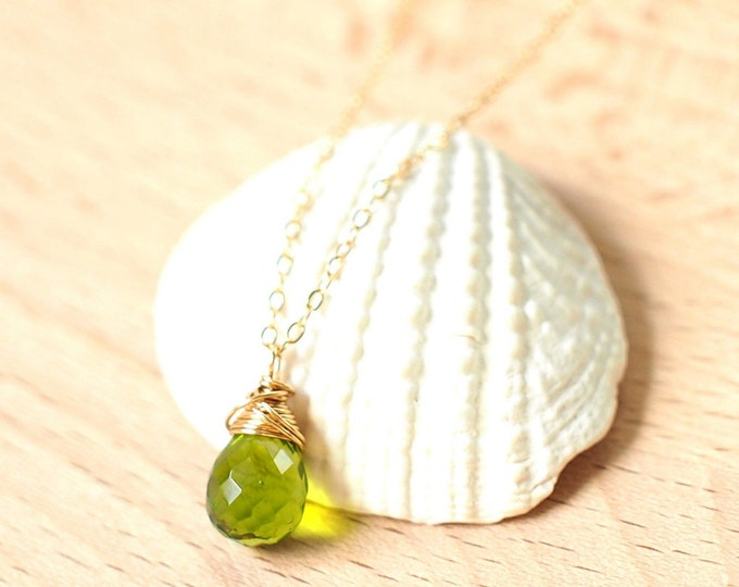 Peridot Necklace // Gem Stone Pendant // Wirewrapped // 14K Gold-filled