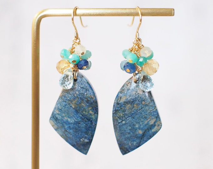Azurite Earrings // Statement Earrings // Gems Cluster // 14K Gold-filled // One of a kind