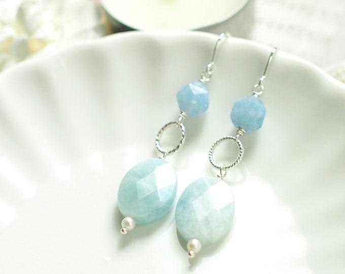 Aquamarine Earrings // Elegant & Chic // 925 Sterling Silver // Everyday Style