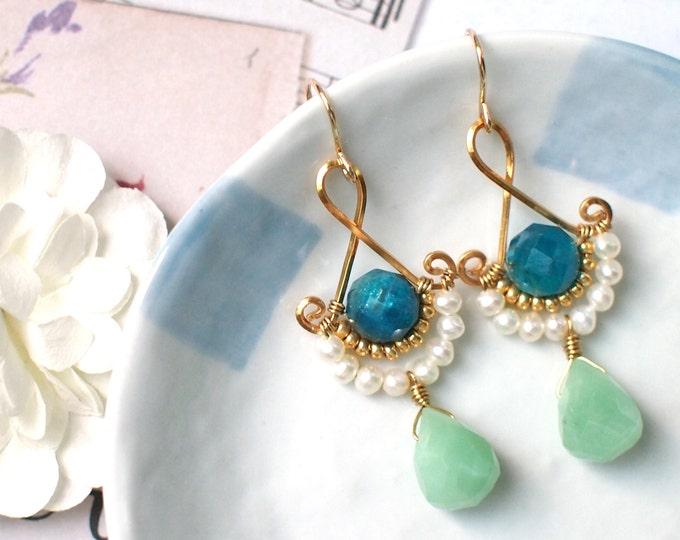 Apatite x Amazonite x Pearls Earrings // Vintage Inspired // 14K Gold-filled // Elegant & Feminine
