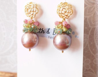 Purple Edison Pearl Earrings // Gem Cluster // Apatite x Period x Pink Tourmaline // 14K Gold-filled // Spring-inspired