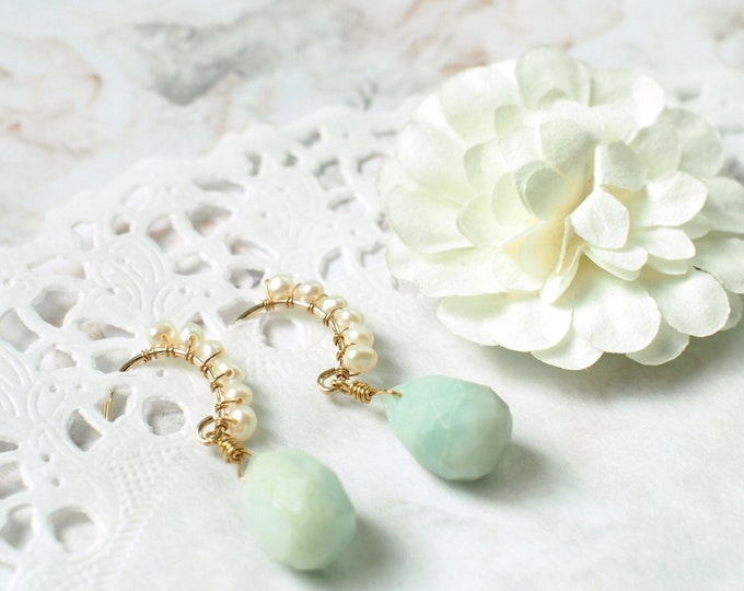 Amazonite x Pearls Earrings // Sweet & Refreshing // 14K Gold-filled // Wirewrapped