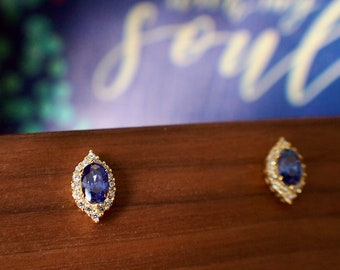 Blue Spinel Earrings // Halo Setting // Cubic Zirconia // 14K Yellow Gold Plated Over Silver