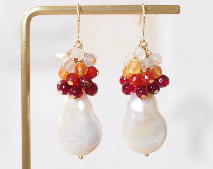 Baroque Pearl Earrings // Red Gems Cluster // Elaborated // 14K Gold-filled // Stunning & Fierce