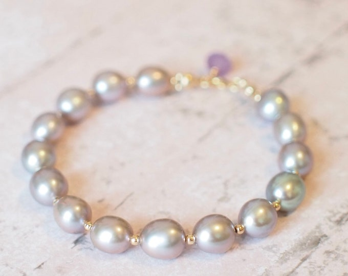 Featured listing image: Silverish Gray Baroque Pearl Bracelet // Silverish Gray // Elegant & Stunning // 14K gold-filled