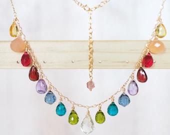 Rainbow Stones Dangling Necklace // 14K Gold-filled // Fun & Stunning // Garnet x Amethyst x Quartz x Chalcedony