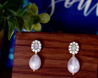 Australian Opal Earrings // Halo Setting // Fresh Water Pearl Dangles // Cubic Zirconia // 14K Yellow Gold Plated Over Silver