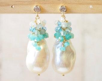White Baroque Pearl Earrings // Flameball Pearls // Blue Gem Cluster // Ocean Theme // 14K Gold-filled // Sparkly & Stunning