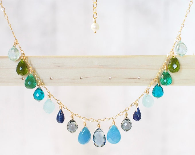 Ombre-style Dangling Stone Necklace // 14K Gold-filled // Refreshing & Stunning // Ocean theme