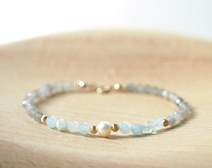 Aquamarine x Labradorite Bracelet // Pearl Charm // Dainty // 14K Gold-filled