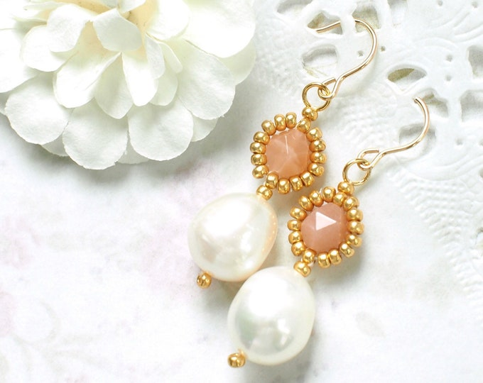 Sunstones x Baroque Pearl Earrings // Beaded // Elegant & Sweet // 14K Gold-filled