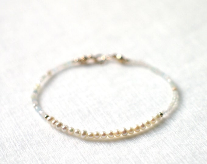 Pearl x Morganite Bracelet // Skinny and Delicate // Stackable// 14K Gold-filled