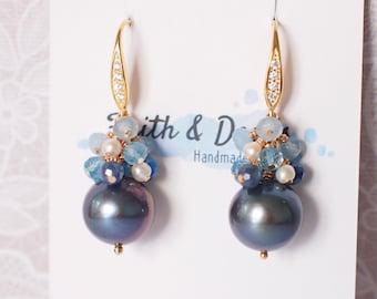 Tahitian Pearl Earrings // Natural Peacock Green // Blue Stones x Pearls Cluster// 14K Gold-filled // Sweet and Elegant