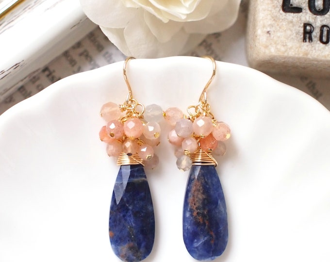 Sodalite x Sunstones Earrings // Statement Earrings // Gem Cluster // 14K Gold-filled // Wire-wrapped // Gorgeous & Striking