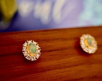 Australian Opal Earrings // Halo Setting // Cubic Zirconia // 14K Yellow Gold Plated Over Silver