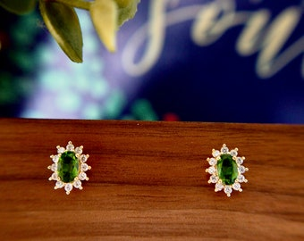 Diopside Earrings // Halo Setting // Cubic Zirconia // 14K Yellow Gold Plated Over Silver