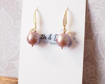Purple Edison Pearl Earrings // Fresh Water Pearl Dangles // 14K Gold-filled // Minimalist & Delicate