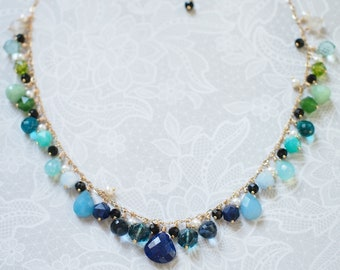 Ombre-style Dangling Stone Necklace // 14K Gold-filled // Fun & Sassy // Ocean theme