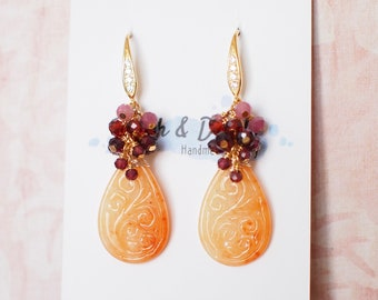 Type A Red Carved Jadeite Statement Earrings // Gem Cluster // 14K Gold-filled // Regal and Gorgeous