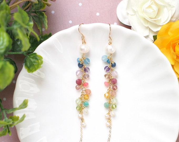 Rainbow Gems x Pearls Dangling Earrings // Sparkly & Precious // 14K Gold-filled // Feminine and Unique