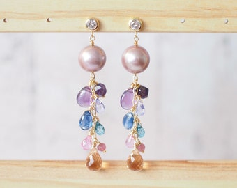 Purple Edison Pearl Earrings // Colourful Gem Dangles // 14K Gold-filled // Dangling Style // Sparkly & Special